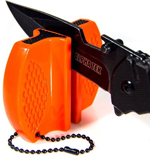 ALPHA TEK Pocket Hunting Knife Sharpener Tungsten Carbide Ceramic Rod - for Camping and Outdoors