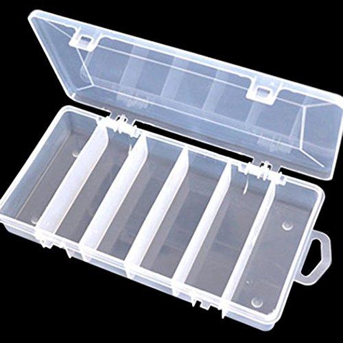 Fishing Tackle BoxCOOKI 1PCS Plastic 5 Compartments Transparent Lure Box Lure Storage Fishing Tackle Box Hooks Baits Storage Box,21cm x 11cm x 35cmL×W×H)